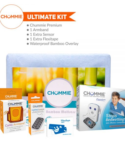 Chummie Premium Bed Wetting Alarm Ultimate Kit with Armband, Sensor, Flexitape, and Bamboo Bedding - Blue