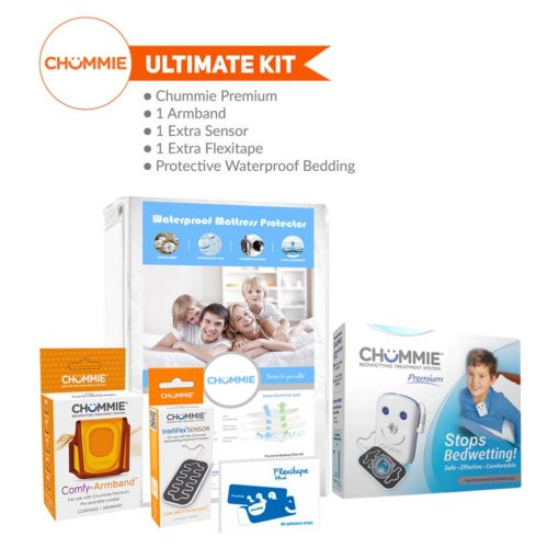 Chummie Premium Bed Wetting Alarm Ultimate Kit with Armband, Sensor, Flexitape, and Bedding - Blue